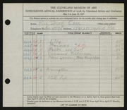 Entry card for Cass, Katherine Dorn for the 1937 May Show.