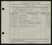 Entry card for Cherry, John Terrance for the 1937 May Show.