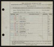 Entry card for Clough, Stanley T. for the 1937 May Show.
