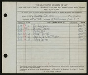 Entry card for Collins, Mary Susan for the 1937 May Show.