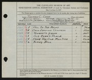 Entry card for Cook, Thomas C. for the 1937 May Show.