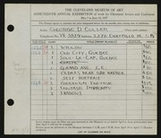 Entry card for Culler, George D. for the 1937 May Show.