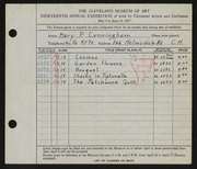 Entry card for Cunningham, Mary Phillips for the 1937 May Show.
