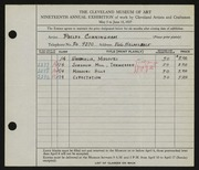 Entry card for Cunningham, William Phelps for the 1937 May Show.