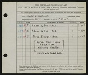 Entry card for Czechowski, Chester V. for the 1937 May Show.