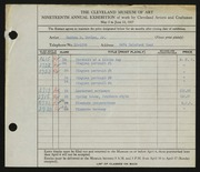 Entry card for Davies, Maxton R., Jr. for the 1937 May Show.