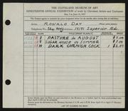 Entry card for Day, Ronald Nelson for the 1937 May Show.