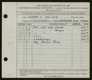 Entry card for Deike, Clara L. for the 1937 May Show.