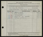 Entry card for Di Marco, Jan for the 1937 May Show.