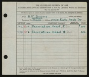 Entry card for Downs, Burdette F. for the 1937 May Show.