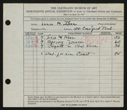 Entry card for Dunn, Louise Morrison for the 1937 May Show.