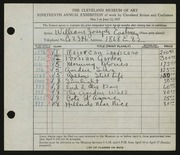 Entry card for Eastman, William Joseph for the 1937 May Show.