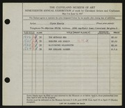 Entry card for Eberly, Clyde for the 1937 May Show.