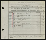 Entry card for Eppink, Norman Roland for the 1937 May Show.