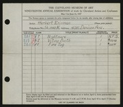 Entry card for Erisman, Herbert for the 1937 May Show.