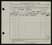 Entry card for Ersek, Joseph Francis for the 1937 May Show.