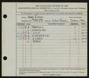 Entry card for Estep, Jane for the 1937 May Show.