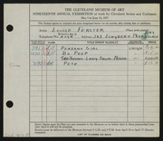 Entry card for Ferster, Louise for the 1937 May Show.