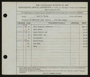 Entry card for Firth, Karl Warren for the 1937 May Show.