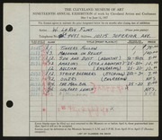 Entry card for Flint, LeRoy Walter for the 1937 May Show.