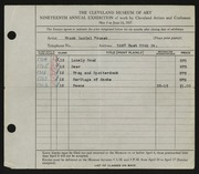 Entry card for Fousek, Frank Daniel for the 1937 May Show.