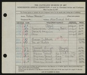 Entry card for Winter, Thelma Frazier for the 1937 May Show.