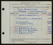 Entry card for Gaertner, Carl Frederick for the 1937 May Show.