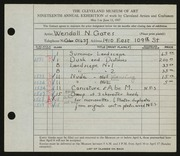 Entry card for Gates, Wendall N. for the 1937 May Show.