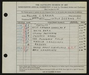 Entry card for Grauer, William C. for the 1937 May Show.