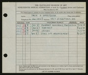 Entry card for Greitzer, Jack J. for the 1937 May Show.