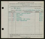 Entry card for Groth, Milt for the 1937 May Show.