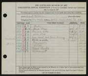 Entry card for Guilbeau, Honore for the 1937 May Show.