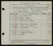 Entry card for Haas, Paul Thomas for the 1937 May Show.