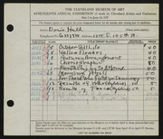 Entry card for Hall, Doris Elizabeth for the 1937 May Show.