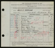 Entry card for Hanson, Nils Edwin for the 1937 May Show.