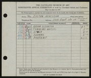 Entry card for Herczegh, Zoltan for the 1937 May Show.