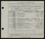 Entry card for Hetman, Harry H. for the 1937 May Show.