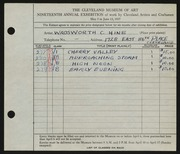 Entry card for Hine, Wadsworth Clark for the 1937 May Show.