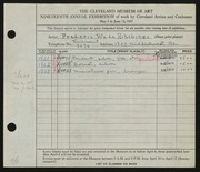 Entry card for Hitchings, Frederic Wade for the 1937 May Show.
