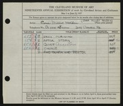 Entry card for Holden, Cora for the 1937 May Show.