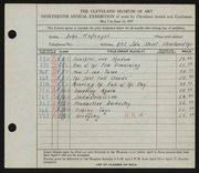 Entry card for Hufnagel, John for the 1937 May Show.
