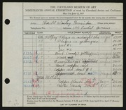 Entry card for Hunsicker, Harold Wesley, and Dyer, Nora E. for the 1937 May Show.
