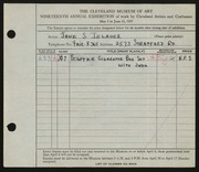 Entry card for Iglauer, Jane S. for the 1937 May Show.