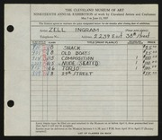 Entry card for Ingram, Zell for the 1937 May Show.