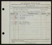 Entry card for Jenness, E. H. for the 1937 May Show.