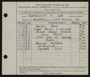 Entry card for Judd, DeForrest H. for the 1937 May Show.