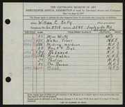 Entry card for Kelly, William E. for the 1937 May Show.