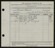 Entry card for Korach, Ernest for the 1937 May Show.