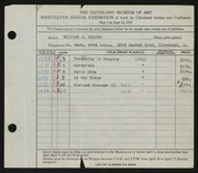 Entry card for Krusoe, William A. for the 1937 May Show.