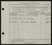 Entry card for Lawrence, Walter E. for the 1937 May Show.